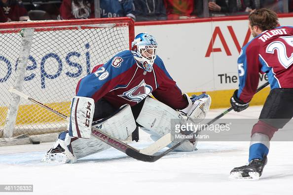 Goaltender Reto Berra of the Colorado Avalanche warms up with teammate Maxime Talbot prior to the game against the Columbus Blue Jackets at the Pepsi...