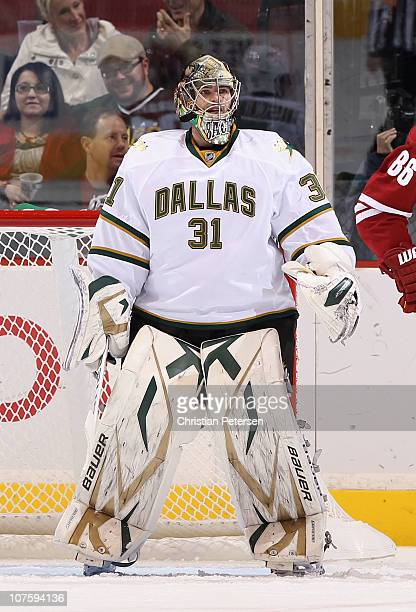 Goaltender Richard Bachman of the Dallas Stars in action during the NHL game against the Phoenix Coyotes at Jobingcom Arena on December 11 2010 in...