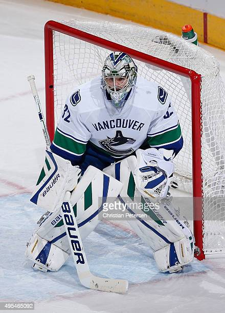 Goaltender Richard Bachman of the Vancouver Canucks in action during the NHL game against the Arizona Coyotes at Gila River Arena on October 30 2015...