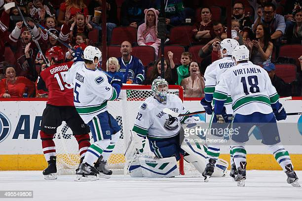 Goaltender Richard Bachman of the Vancouver Canucks reacts after allowing a goal to the Arizona Coyotes during the NHL game at Gila River Arena on...