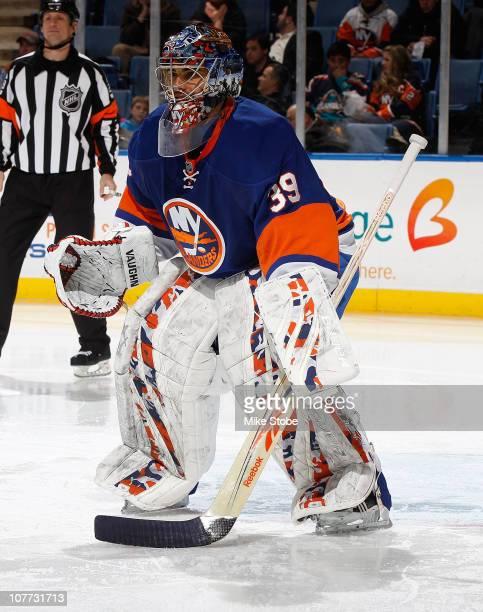 Goaltender Rick DiPietro of the New York Islanders skates against the Anaheim Ducks on December 16 2010 at Nassau Coliseum in Uniondale New York...