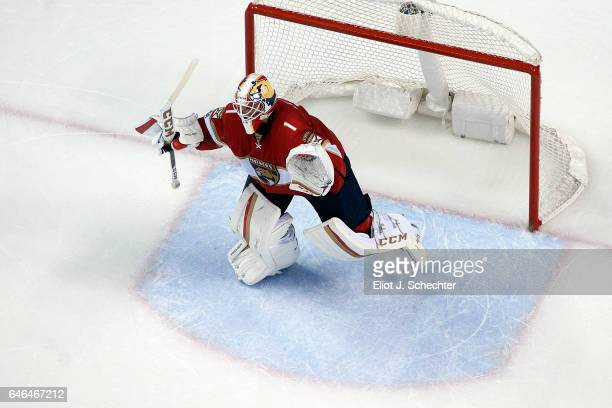 Goaltender Roberto Luongo of the Florida Panthers celebrates their shootout win against the Carolina Hurricanes at the BBT Center on February 28 2017...
