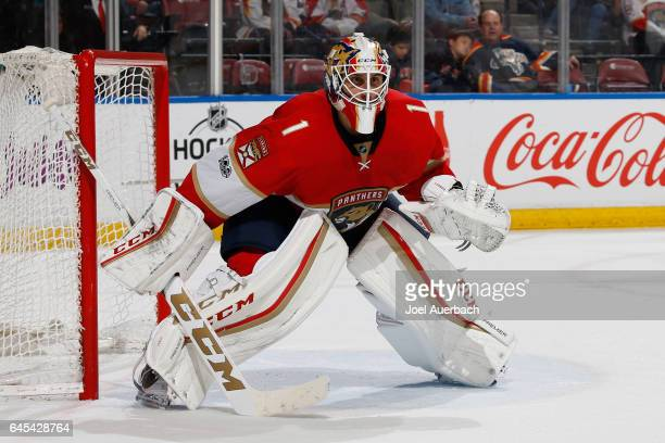 Goaltender Roberto Luongo of the Florida Panthers defends the net against the Calgary Flames at the BBT Center on February 24 2017 in Sunrise Florida...