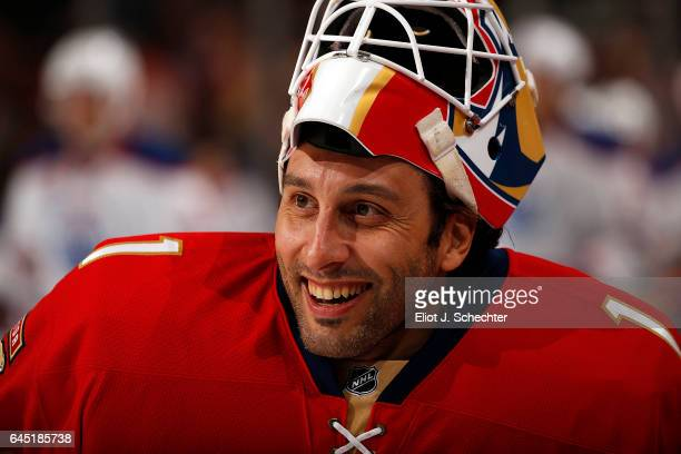 Goaltender Roberto Luongo of the Florida Panthers glides on the ice during warm ups prior to the start of the game against the Edmonton Oilers at the...