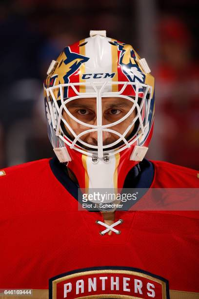 Goaltender Roberto Luongo of the Florida Panthers glides on the ice for warm ups prior to the start of the game against the Ottawa Senators at the...