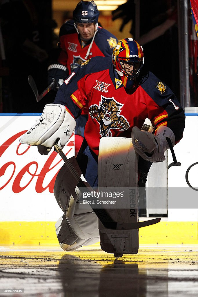Goaltender Roberto Luongo #1 of the Florida Panthers heads out to the ice prior to the start of the game against the Columbus Blue Jackets at the BB&T Center on April 12, 2014 in Sunrise, Florida.