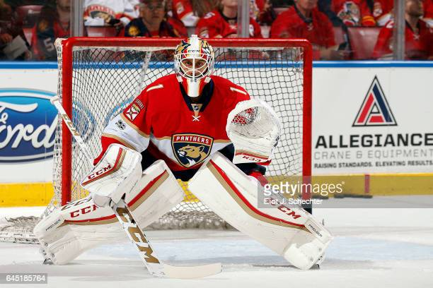 Goaltender Roberto Luongo of the Florida Panthers in net during warm ups prior to the start of the game against the Edmonton Oilers at the BBT Center...