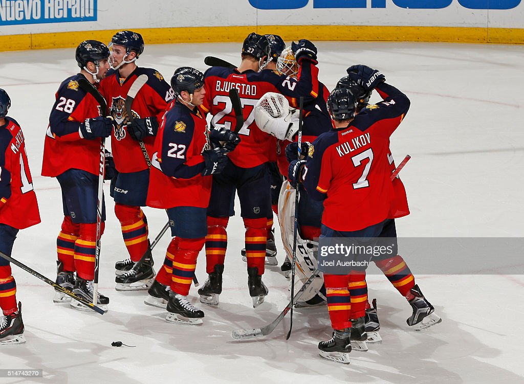 Goaltender Roberto Luongo #1 of the Florida Panthers is congratulated by teammates after the game against the Ottawa Senators at the BB&T Center on March 10, 2016 in Sunrise, Florida. The Panthers defeated the Senators 6-2.