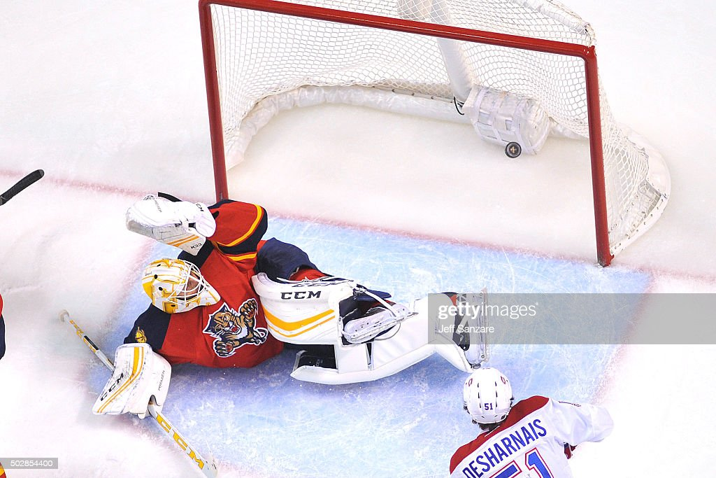 Goaltender Roberto Luongo #1 of the Florida Panthers is unable to stop the shot by Max Pacioretty #67 (Not Pictured) of the Montreal Canadiens during first period action at the BB&T Center on December 29, 2015 in Sunrise, Florida.