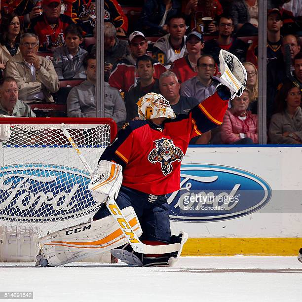 Goaltender Roberto Luongo of the Florida Panthers makes a glove save against the Ottawa Senators at the BBT Center on March 10 2016 in Sunrise Florida