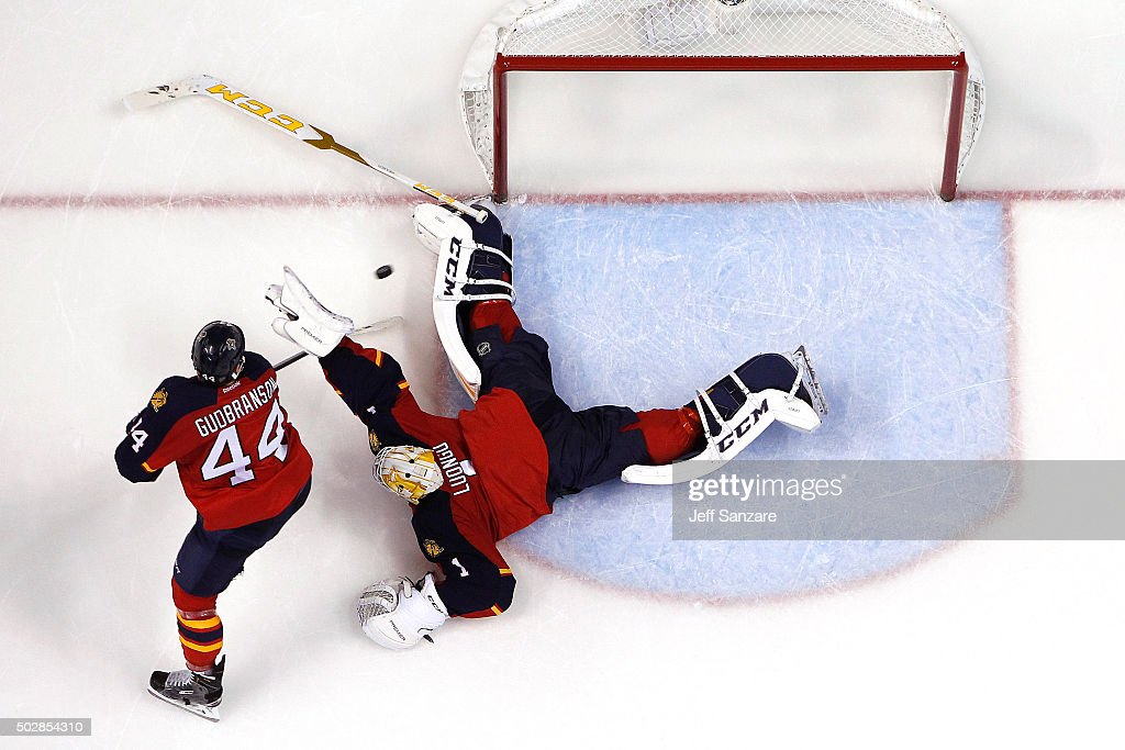 Goaltender Roberto Luongo #1 of the Florida Panthers makes a save with the help of teammate Erik Gudbranson #44 against the Montreal Canadiens at the BB&T Center on December 29, 2015 in Sunrise, Florida.