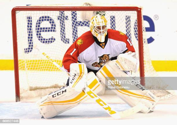 Goaltender Roberto Luongo of the Florida Panthers plays in the game against the Boston Bruins at TD Garden on March 25 2016 in Boston Massachusetts