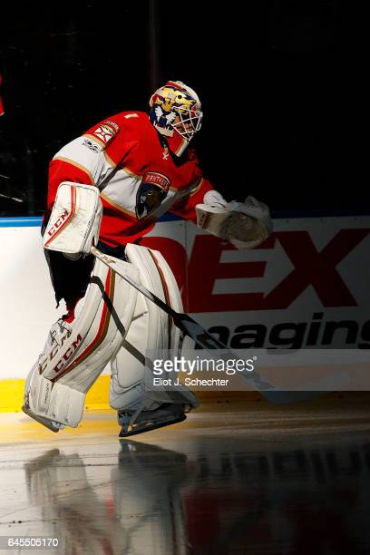 Goaltender Roberto Luongo of the Florida Panthers skates out to the ice prior to the start of the game against the Calgary Flames at the BBT Center...