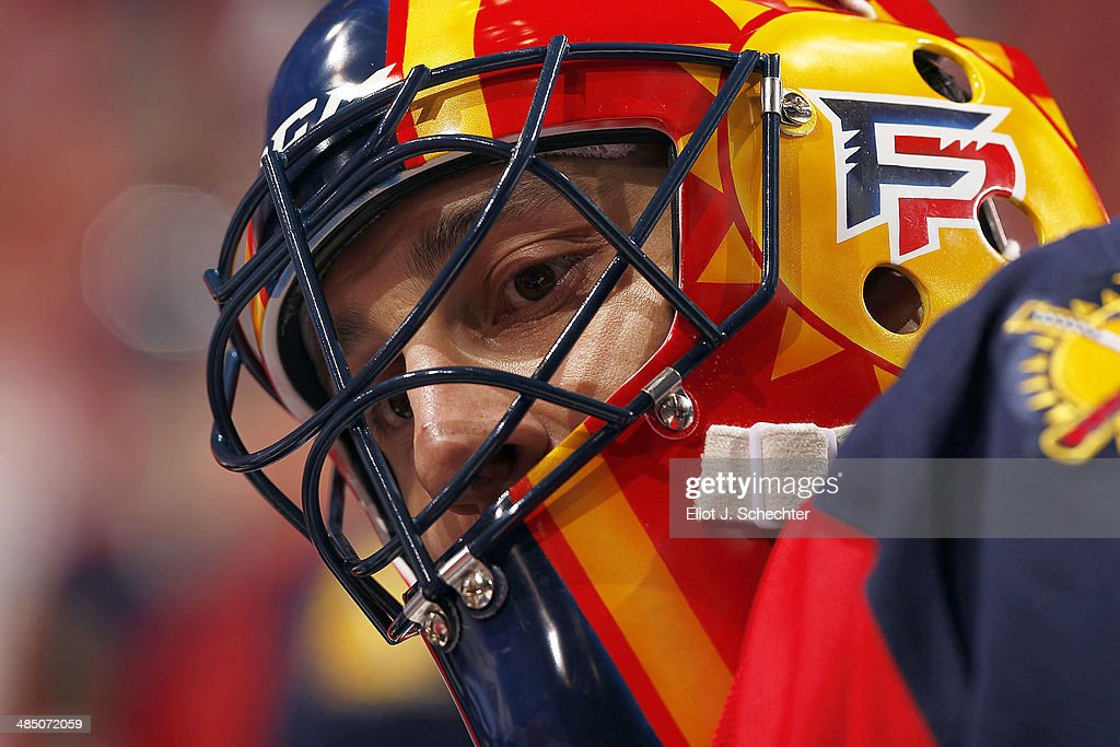 Goaltender Roberto Luongo #1 of the Florida Panthers stretches on the ice prior to the start of the game against the Columbus Blue Jackets at the BB&T Center on April 12, 2014 in Sunrise, Florida.