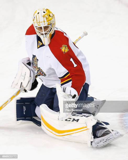 Goaltender Roberto Luongo of the Florida Panthers warms up before the game against the New York Rangers at Madison Square Garden on March 21 2016 in...