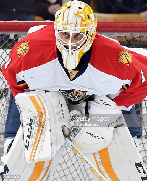 Goaltender Roberto Luongo of the Florida Panthers warms up before the game against the Boston Bruins at TD Garden on March 25 2016 in Boston...