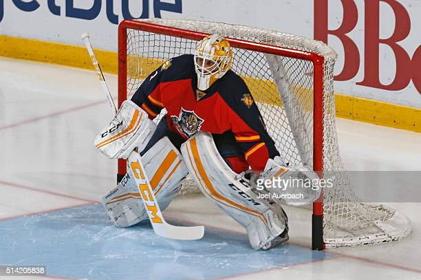 Goaltender Roberto Luongo of the Florida Panthers warms up prior to the game against the Boston Bruins at the BBT Center on March 7 2016 in Sunrise...