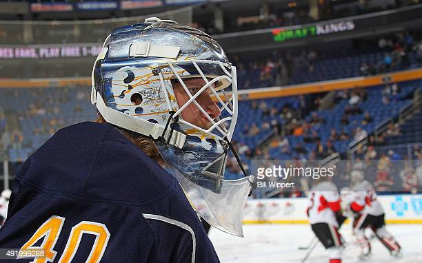 Goaltender Robin Lehner of the Buffalo Sabres warms up before playing against the Ottawa Senators on October 8 2015 at the First Niagara Center in...