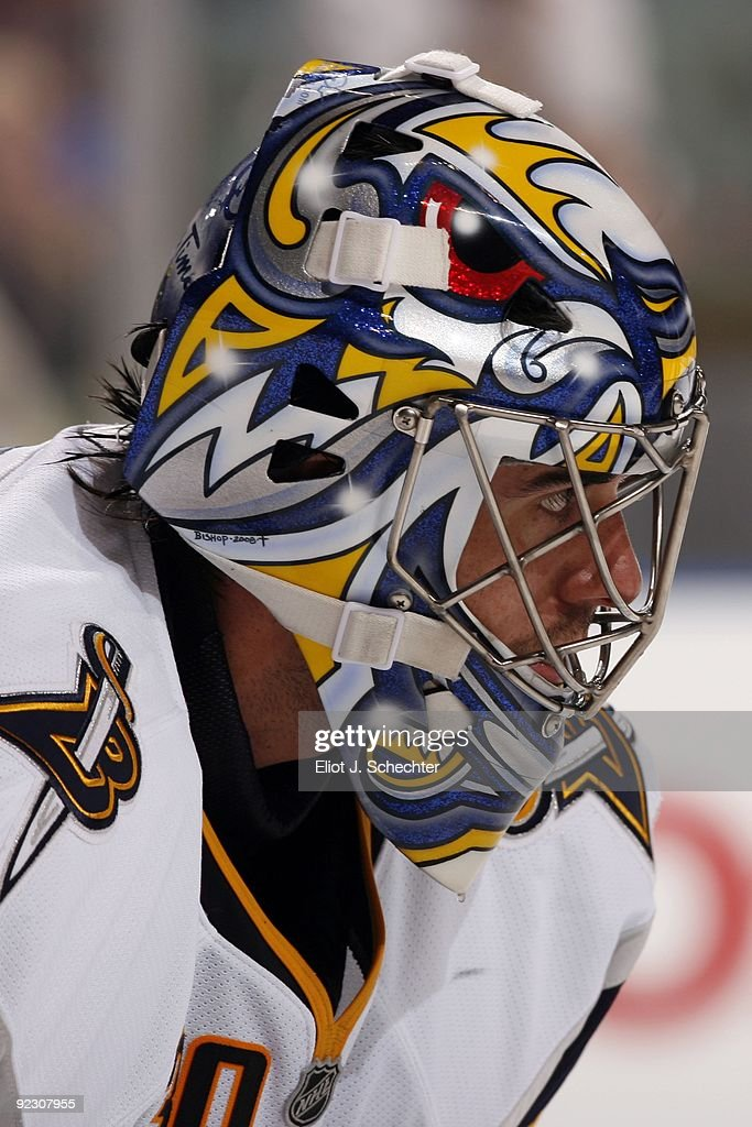 Goaltender Ryan Miller of the Buffalo Sabres defends the net against the Florida Panthers at the BankAtlantic Center on October 21 2009 in Sunrise...