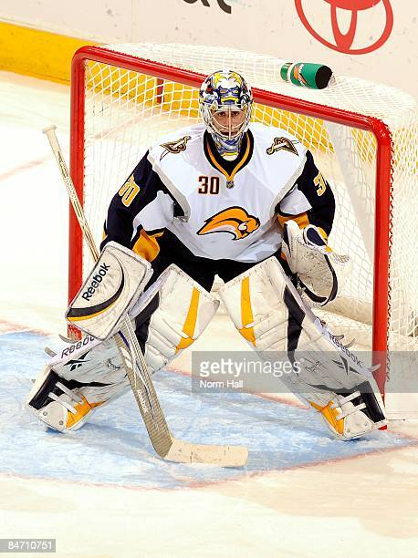 Goaltender Ryan Miller of the Buffalo Sabres gets ready to make a save against the Phoenix Coyotes on January 31 2009 at Jobingcom Arena in Glendale...