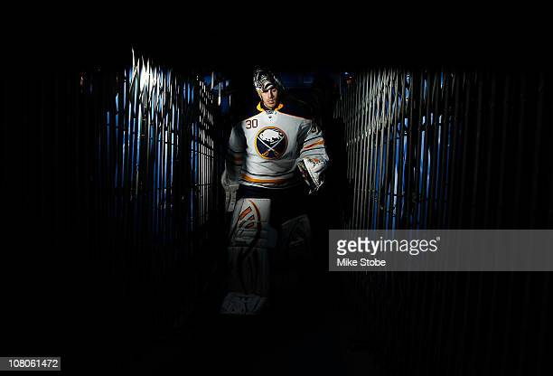 Goaltender Ryan Miller of the Buffalo Sabres skates off the ice after warming up for the game against the New York Islanders on January 15 2011 at...
