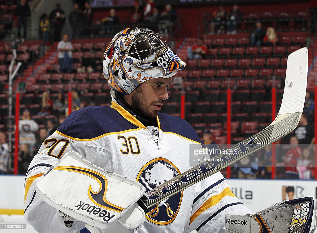 Goaltender Ryan Miller #30 of the Buffalo Sabres skates off the ice after the pre game skate prior to the game against the Florida Panthers at the BB&T Center on February 28, 2013 in Sunrise, Florida.