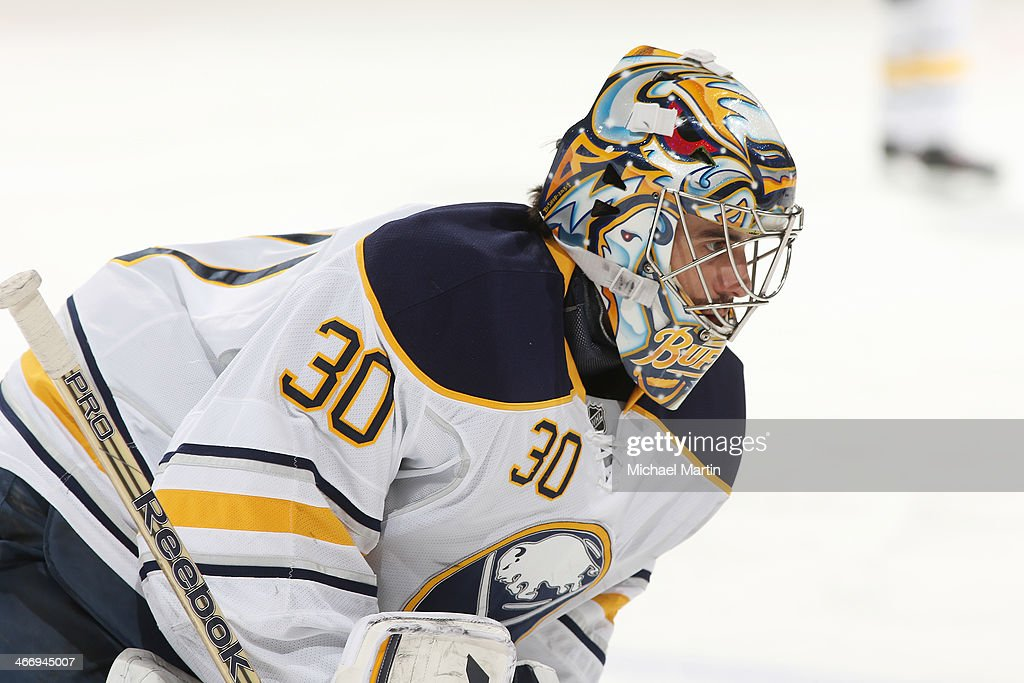 Goaltender Ryan Miller #30 of the Buffalo Sabres skates prior to the game against the Colorado Avalanche at the Pepsi Center on February 1, 2014 in Denver, Colorado.