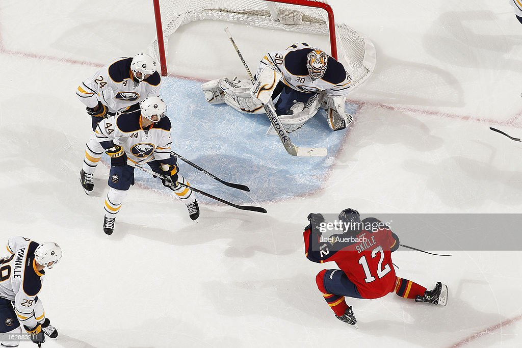 Goaltender Ryan Miller #30 of the Buffalo Sabres stops the shot by Jack Skille #12 of the Florida Panthers during second-period action at the BB&T Center on February 28, 2013 in Sunrise, Florida. The sabers defeated the Panthers 4-3 in a shootout.