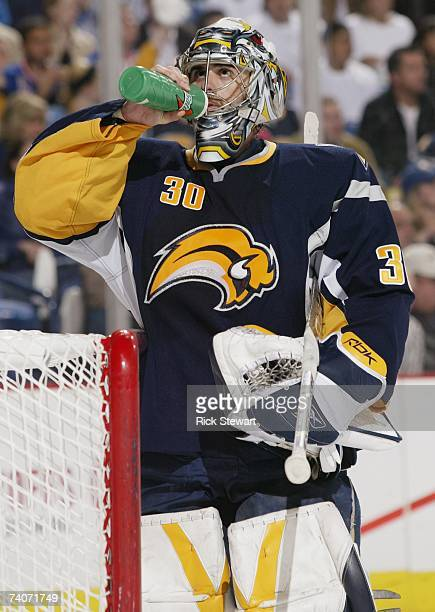 Goaltender Ryan Miller of the Buffalo Sabres takes a drink as he rests against the New York Rangers in Game 1 of the Eastern Conference Semifinals...
