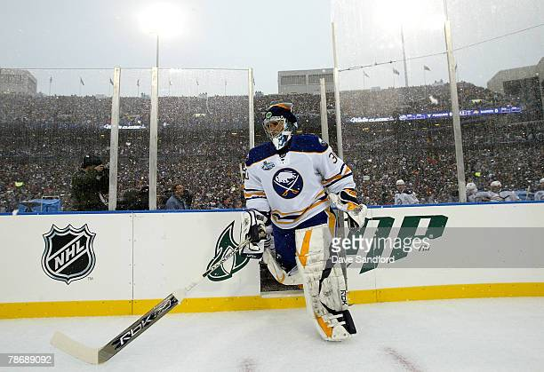 Goaltender Ryan Miller of the Buffalo Sabres takes the ice to take on the Pittsburgh Penguins in the NHL Winter Classic at the Ralph Wilson Stadium...