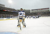 Goaltender Ryan Miller of the Buffalo Sabres waits on the ice before his team take on the Pittsburgh Penguins in the NHL Winter Classic at the Ralph...