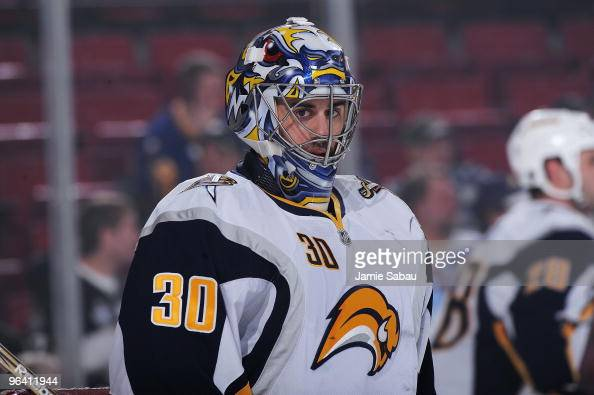 Goaltender Ryan Miller of the Buffalo Sabres warms up before a game against the Pittsburgh Penguins on February 1 2010 at Mellon Arena in Pittsburgh...