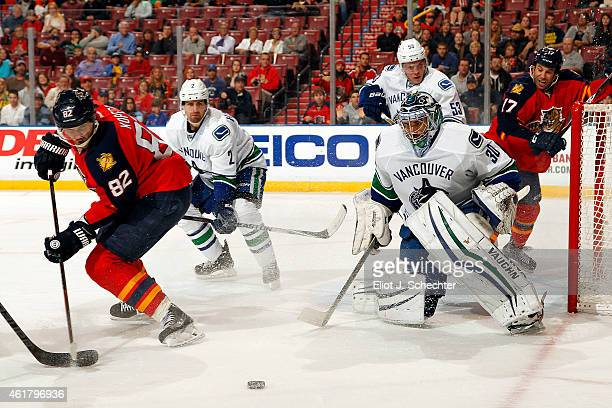 Goaltender Ryan Miller of the Vancouver Canucks defends the net against Tomas Kopecky of the Florida Panthers at the BBT Center on January 19 2015 in...