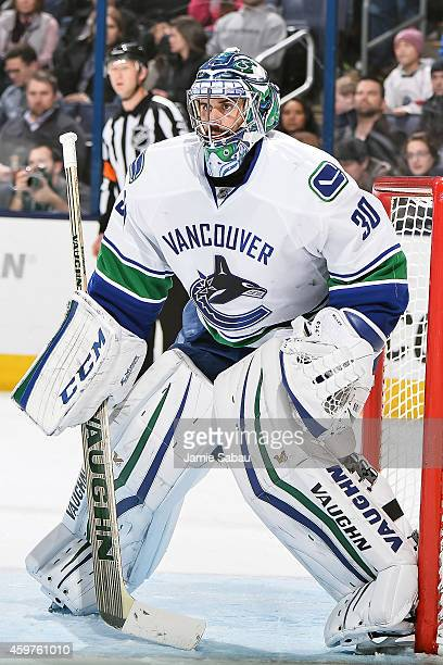Goaltender Ryan Miller of the Vancouver Canucks defends the net against the Columbus Blue Jackets on November 28 2014 at Nationwide Arena in Columbus...