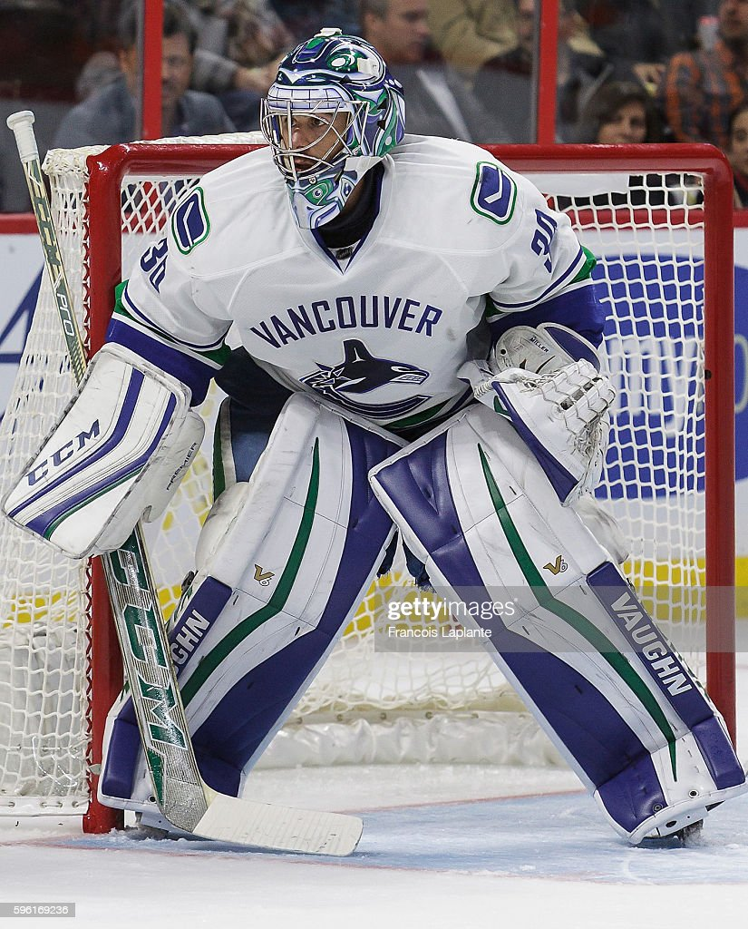 Goaltender Ryan Miller of the Vancouver Canucks plays in the game against the Ottawa Senators at Canadian Tire Centre on November 12 2015 in Ottawa...