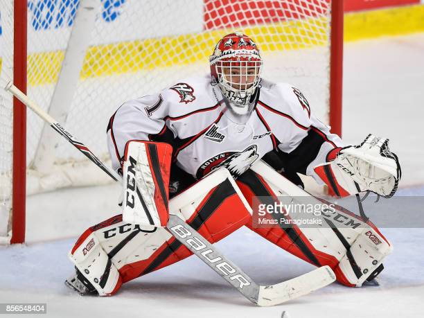 Goaltender Samuel Harvey of the RouynNoranda Huskies protects his net against the BlainvilleBoisbriand Armada during the QMJHL game at Centre...