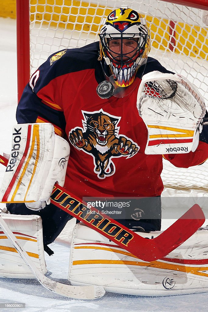 Goaltender <a gi-track='captionPersonalityLinkClicked' href=/galleries/search?phrase=Scott+Clemmensen&family=editorial&specificpeople=214674 ng-click='$event.stopPropagation()'>Scott Clemmensen</a> #30 of the Florida Panthers defends the net against the Ottawa Senators at the BB&T Center on April 7, 2013 in Sunrise, Florida.