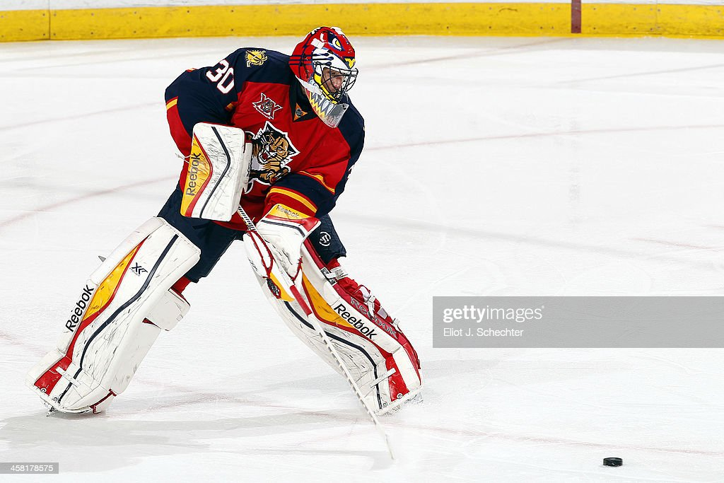 Goaltender Scott Clemmensen of the Florida Panthers defends the net against the Washington Capitals at the BBT Center on December 13 2013 in Sunrise...