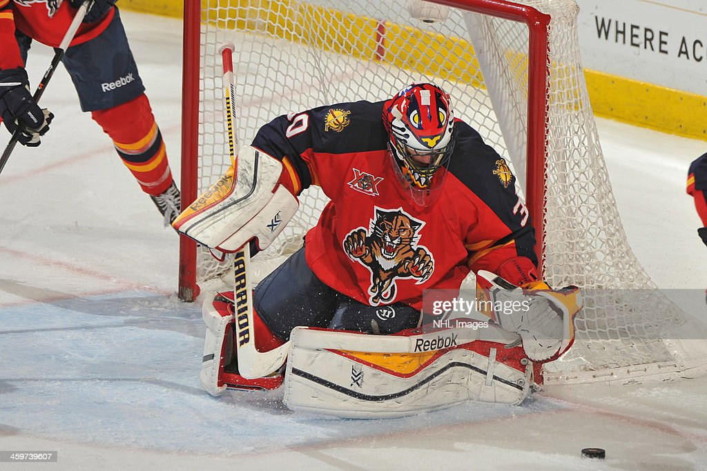 Goaltender Scott Clemmensen of the Florida Panthers defends the net against the Montreal Canadiens at the BBT Center on December 29 2013 in Sunrise...
