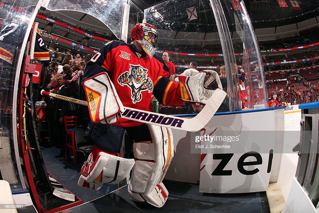 Goaltender Scott Clemmensen of the Florida Panthers heads out to the ice prior to the start of the game against the Montreal Canadiens at the BBT...