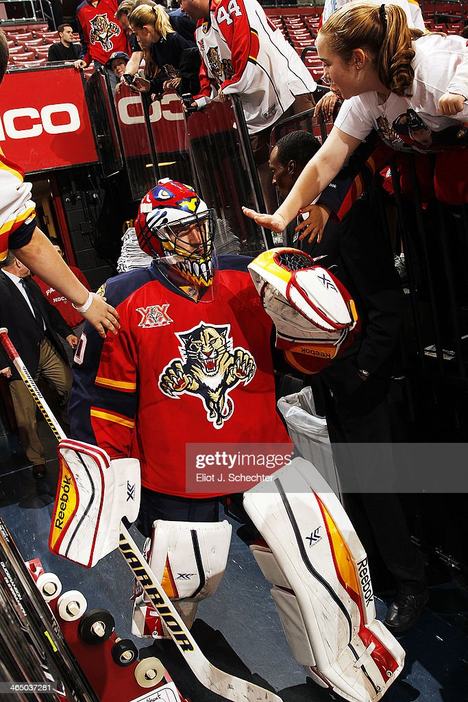 Goaltender Scott Clemmensen of the Florida Panthers makes his way out to the ice prior to the start of the game against the New York Islanders at the...