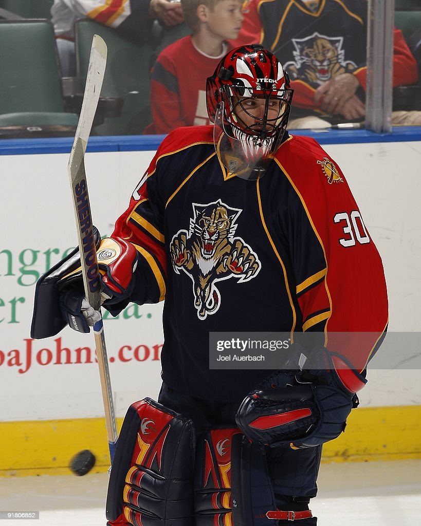 Goaltender Scott Clemmensen of the Florida Panthers skates during warmup prior to the game against the New Jersey Devils on October 10 2009 at the...