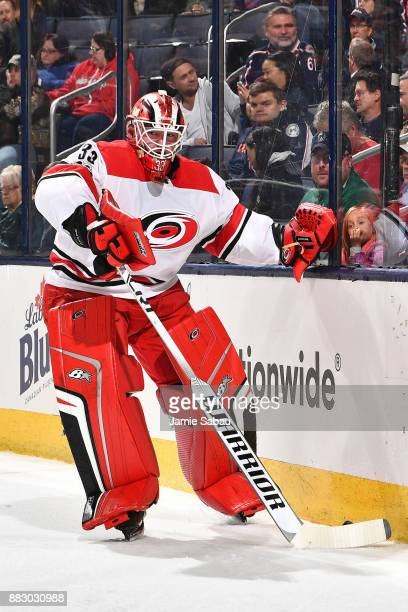 Goaltender Scott Darling of the Carolina Hurricanes defends the net against the Columbus Blue Jackets on November 28 2017 at Nationwide Arena in...