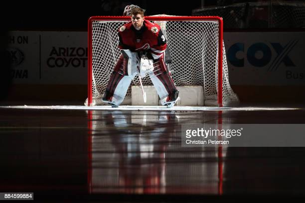 Goaltender Scott Wedgewood of the Arizona Coyotes is introduced to the NHL game against the New Jersey Devils at Gila River Arena on December 2 2017...