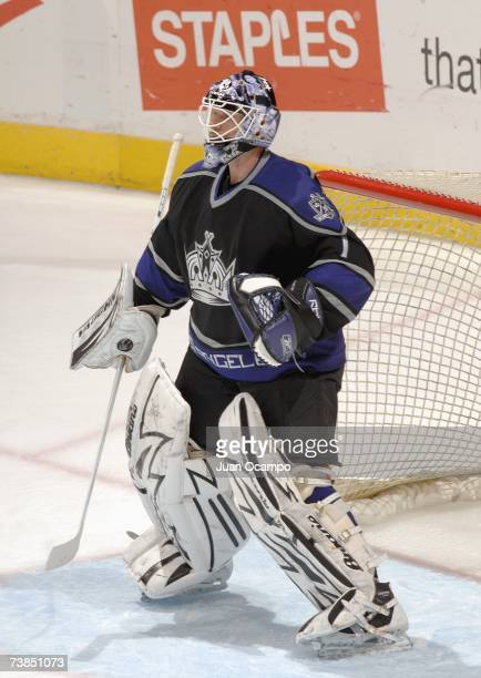 Goaltender Sean Burke of the Los Angeles Kings guards the net during the game against the Vancouver Canucks on March 29 2007 at the Staples Center in...