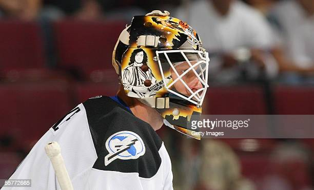 Goaltender Sean Burke of the Tampa Bay Lightning in action against the Montreal Canadiens during the preseason NHL game on September 20 2005 at the...