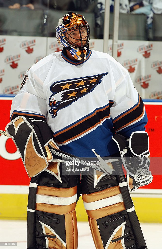 Goaltender Sebastien Charpentier #35 of the Washington Capitals looks on against the Toronto Maple Leafs during their NHL game on October 13, 2003 at Air Canada Centre in Toronto, Ontario. The Maple Leafs and the Capitals skated to a 2-2 tie.