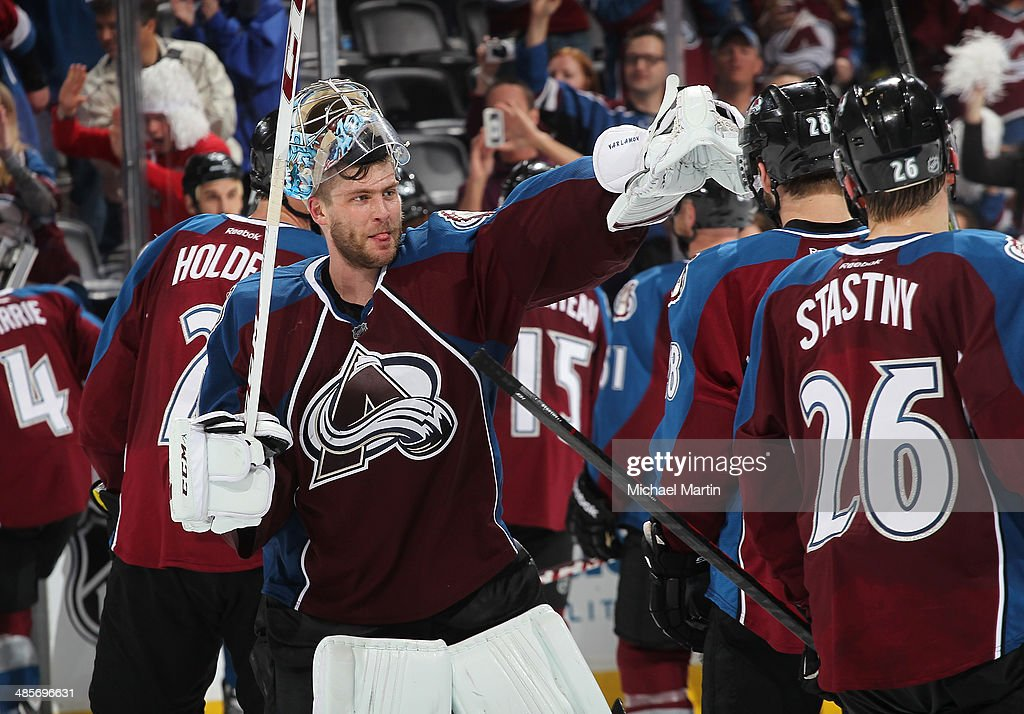 Goaltender Semyon Varlamov #1 of the Colorado Avalanche celebrates a win with teammates against the Minnesota Wild in Game Two of the First Round of the 2014 Stanley Cup Playoffs at the Pepsi Center on April 19, 2014 in Denver, Colorado. The Avalanche defeated the Wild 4-2.