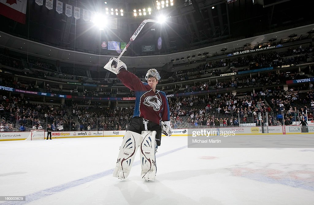 Goaltender <a gi-track='captionPersonalityLinkClicked' href=/galleries/search?phrase=Semyon+Varlamov&family=editorial&specificpeople=6264893 ng-click='$event.stopPropagation()'>Semyon Varlamov</a> #1 of the Colorado Avalanche is names the first star of the game after a 4-0 shutout against the Columbus Blue Jackets at the Pepsi Center on January 24, 2013 in Denver, Colorado.