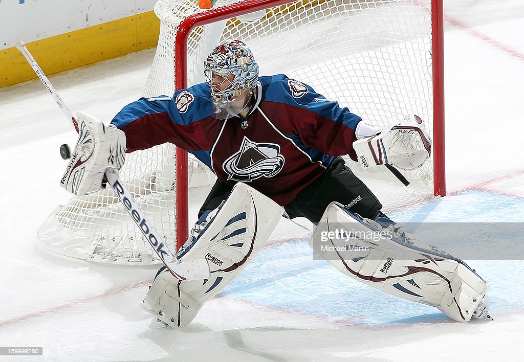 Goaltender <a gi-track='captionPersonalityLinkClicked' href=/galleries/search?phrase=Semyon+Varlamov&family=editorial&specificpeople=6264893 ng-click='$event.stopPropagation()'>Semyon Varlamov</a> #1 of the Colorado Avalanche makes a save against the Columbus Blue Jackets at the Pepsi Center on January 24, 2013 in Denver, Colorado.